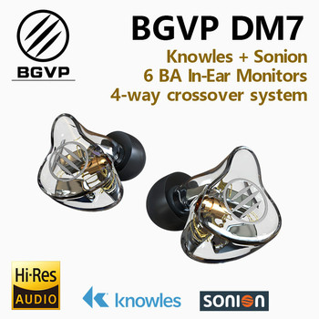 BGVP DM7 6 BA In Ear Monitors HIFI Earphone New 2019 Customize IEM Knowles Sonion Drivers Music Studio Earbuds w/ MMCX Cable