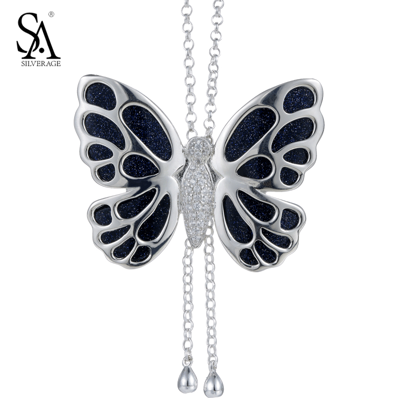 SA SILVERAGE Silver Chain Necklace Gemstone Butterfly Pendant Genuine 925 Sterling Silver Necklace Sweater Women Accessory цена 2017