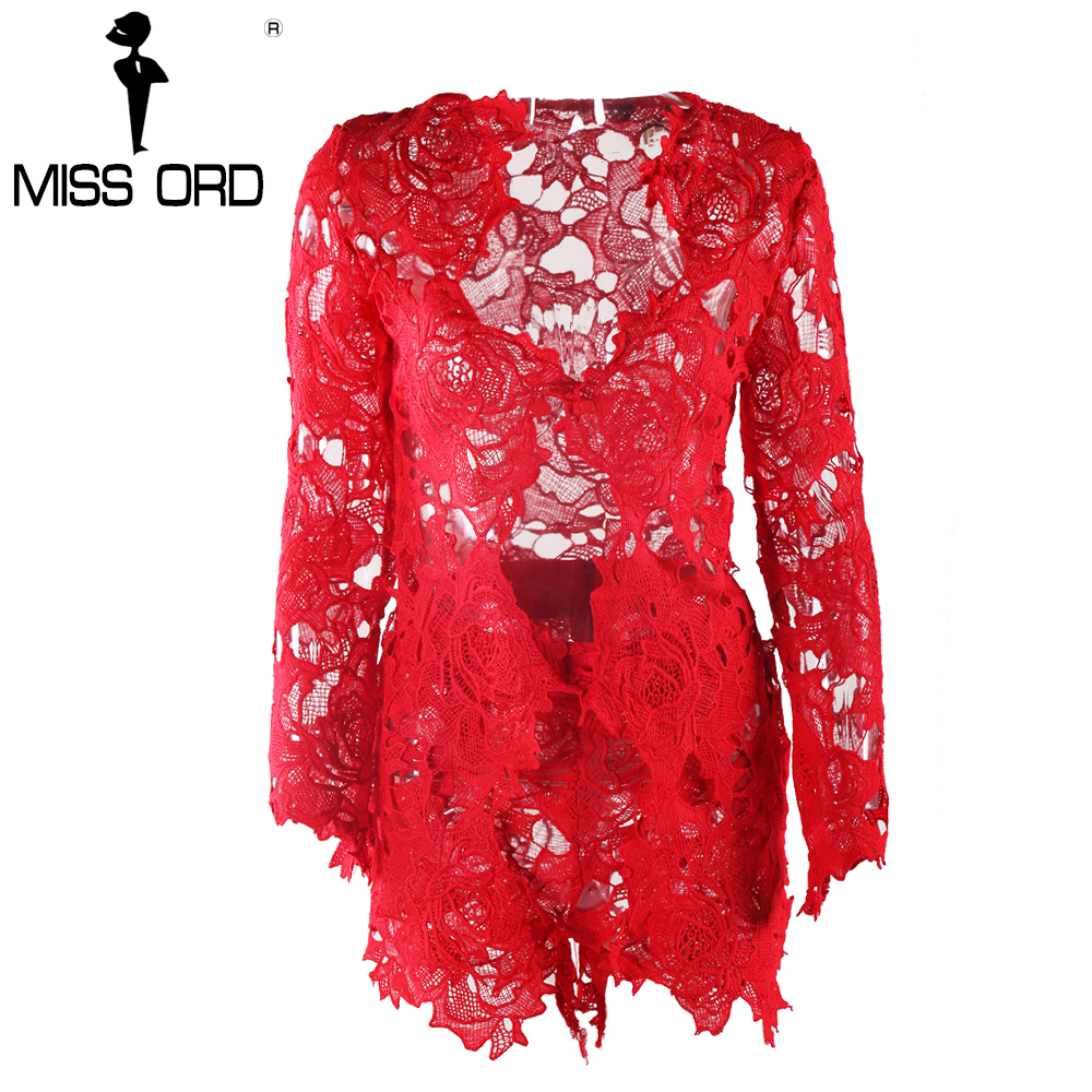 MISSORD 2020 Sexy Long Sleeve Deep-V Lace Stitching Tops And Shorts Women Sets FT4953-2