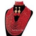 Increíble Collar de Perlas de Joyería de la Boda Africana de Nigeria Coral Rojo Artificial Set Mujeres Regalo de La Manera Envío Gratis SET38
