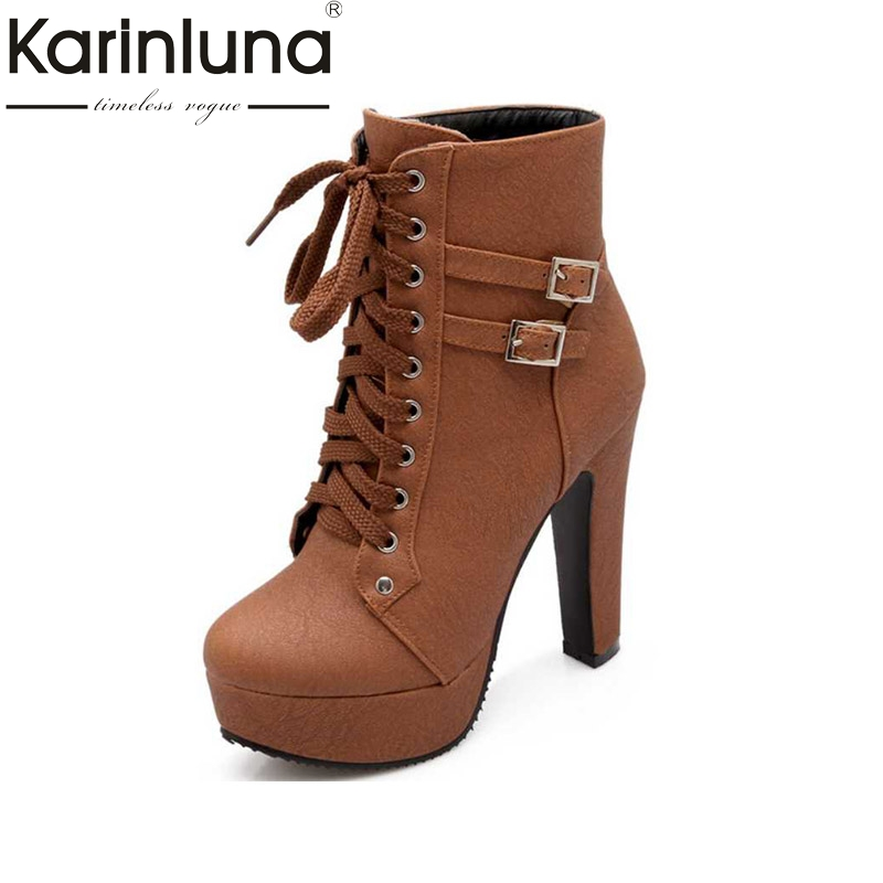 Big Size 33-43 Women Ankle Boots Fashion Lace Up Buckle Solid Colors Spike High Heels Shoes Women Platform Winter Autumn Boots brand new hot sales women nude ankle boots red black buckle ladies riding spike shoes high heels emb08 plus big size 32 45 11