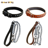 High Quality Top Layer Genuine Leather Pet Leash Lead With Spring Strong Collar For Large Dog