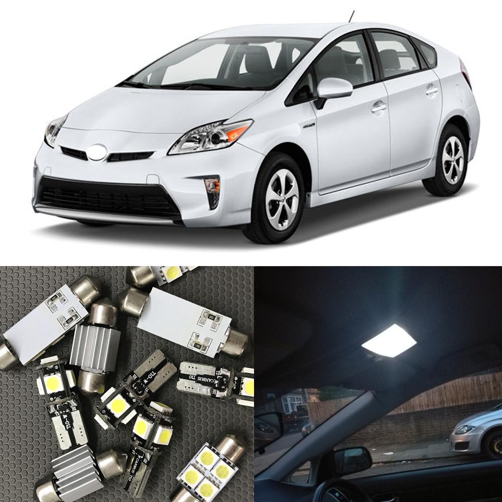 8Pcs White LED Lights Interior Package Kit For 2004-2012 Toyota Prius C V step Courtesy Dome Map License Plate light Car styling