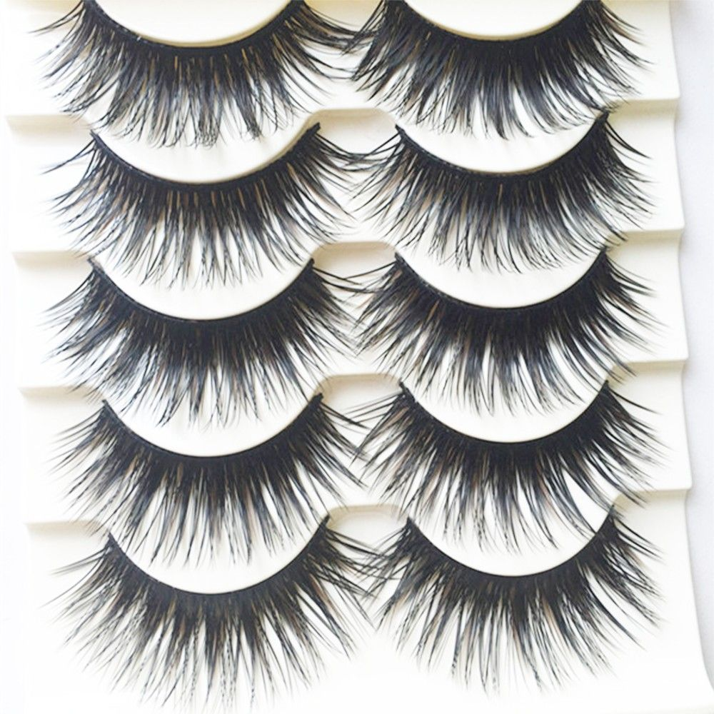 5 Pairs Handmade Black Voluminous False Eyelashes Makeup Very Thick Long Fake Eye Lashes Extention Tools YY10