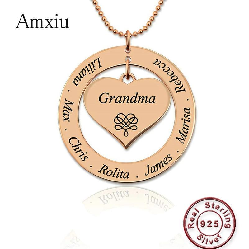 Amxiu personnalisé 925 collier en argent graver nom grand-mère maman Souvenir bijoux pendentif coeur avec des noms d'enfants cadeau de fête des mères