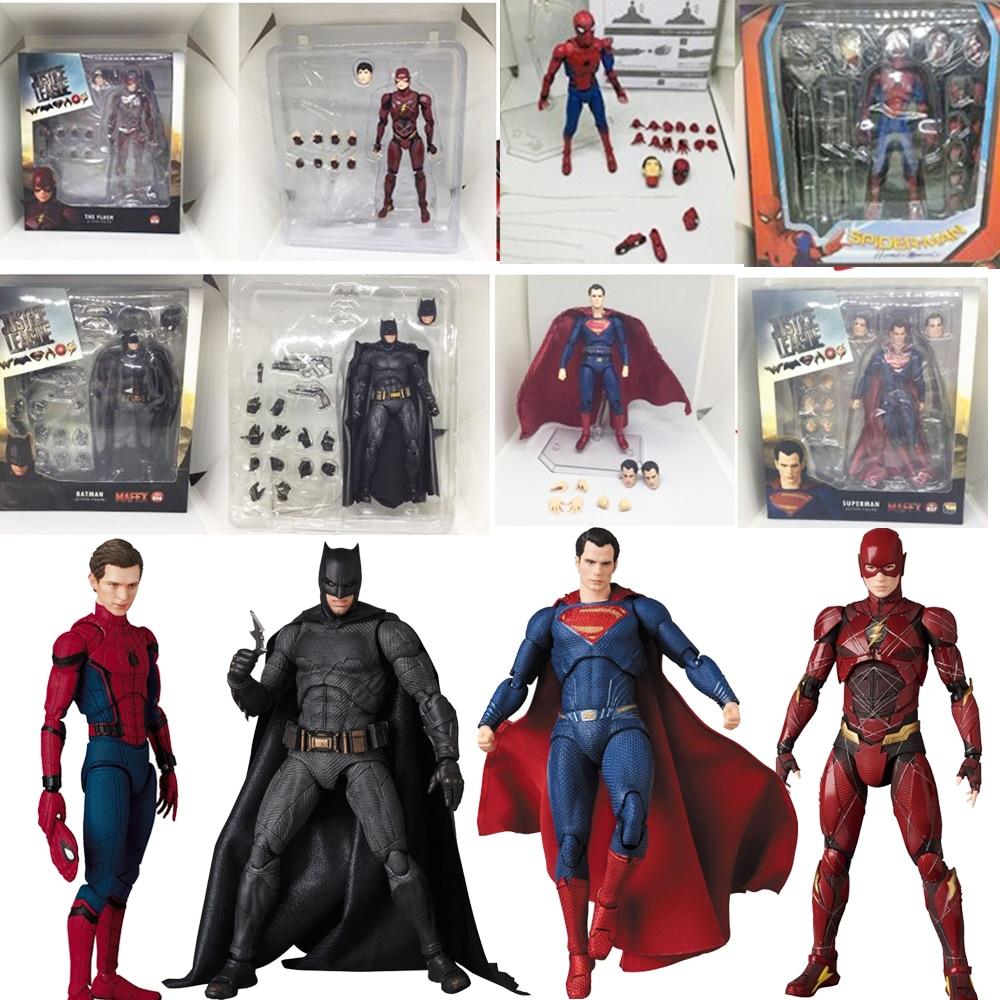 DC Justice League Super Hero MAFEX MAF Batman 056 Flash 058 Wonder Woman 048 Superman 057 Spiderman 047 Action Figure Toy DollAction & Toy Figures   -