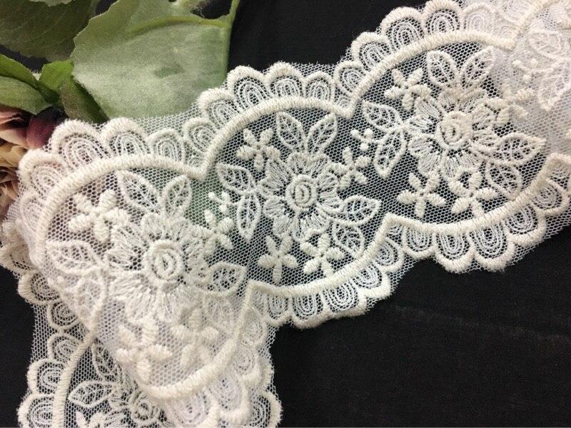 Изысканный Вышивка бежевый белый хлопок сетки кружево интимные аксессуары см с двусторонней вышивкой см широкий 8,5