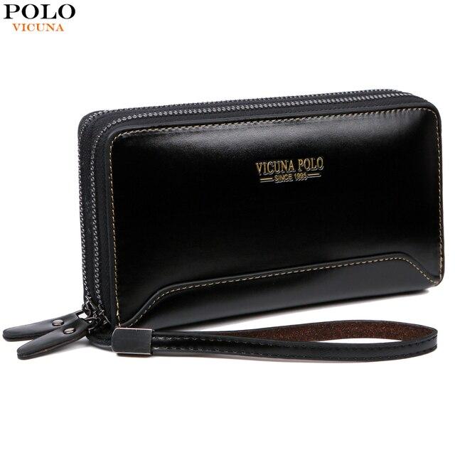 c7338cbb VICUNA POLO High Quality Leather Men's Clutch Bag Nylon Waterproof Handbags  Fashion Large Capacity Purse Double Pocket Men Bags