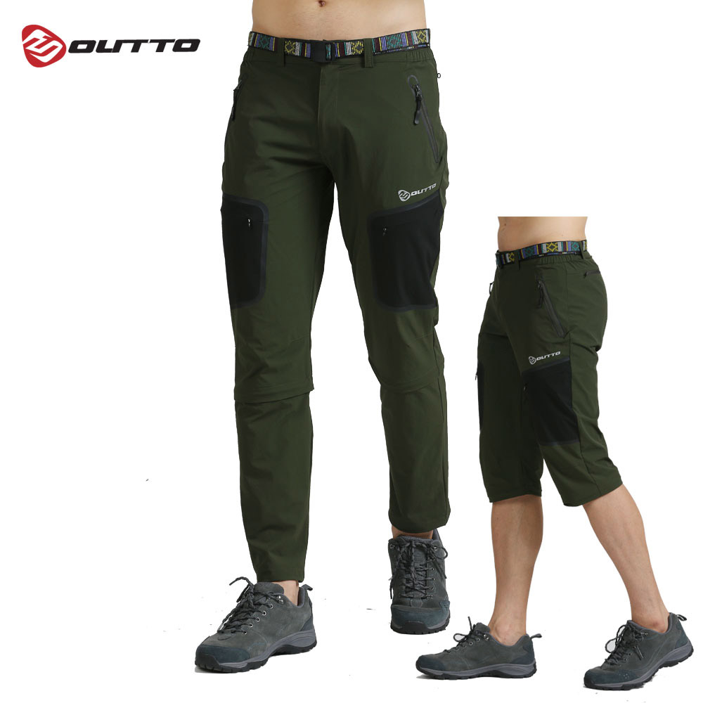 Outto Men's Detachable Hiking Pants Breathable Elastic Outdoor Sports Trousers Autumn Camping Trekking Climbing Cycling Shorts