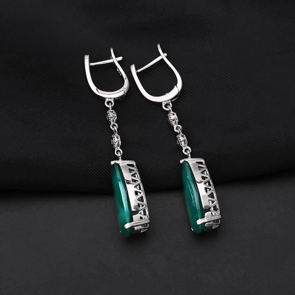 Gem's Ballet Natural Green Agate Drop Earrings 925 sterling silver Earrings For Women Fine Jewelry Gift Fashion Wedding Style