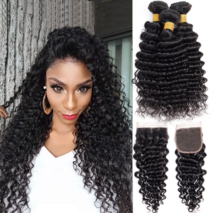 Image 2 - deep wave bundles with closure Peruvian hair bundles with closure lanqi non remy Brazilian human hair weave bundles with closure
