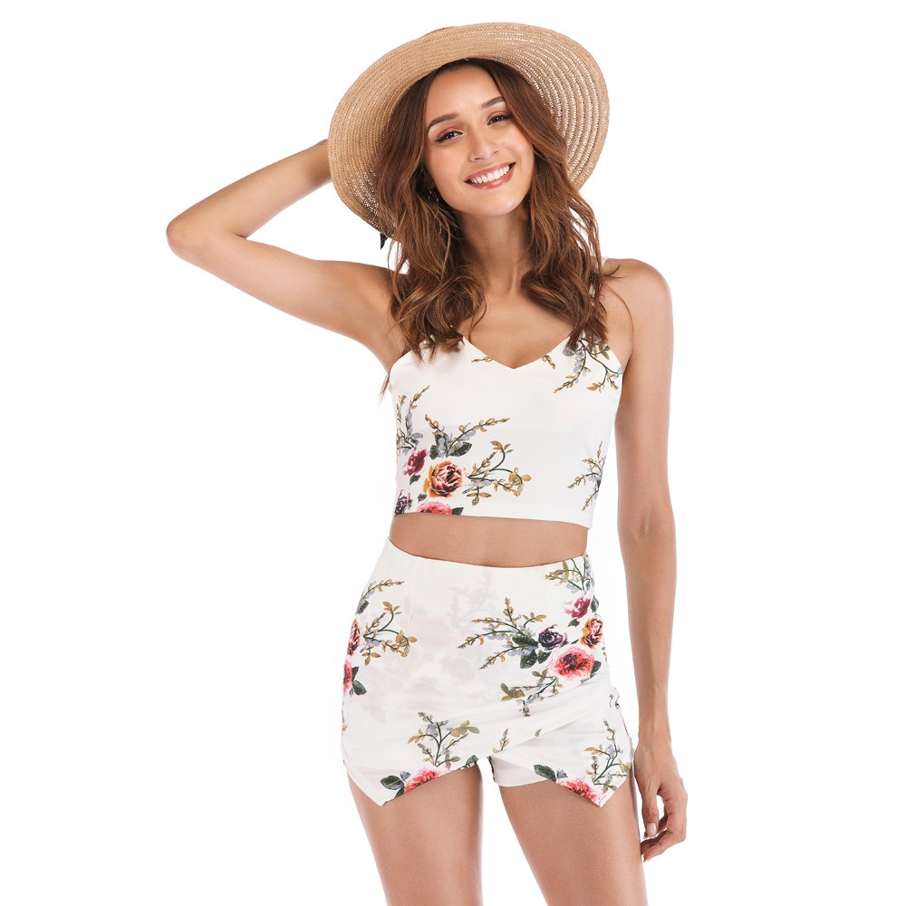 Womens Sexy Print Floral Camis Crop Tops Shorts Set Suit