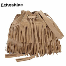 Fahsion Women Messenger bag Women Casual Tassel Solid Bags Drawstring Shoulder Crossbody Bags bolsa feminina wholesale
