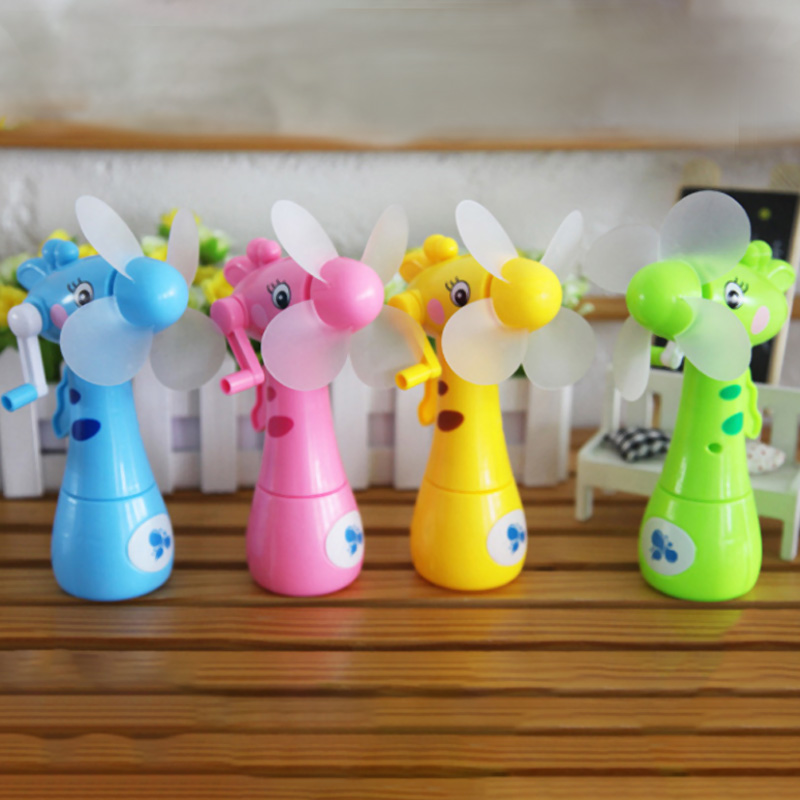 Image 2 - Mini Fan Cartoon Giraffes Portable Handheld Desk Humidification Kid Toy Handheld Water Mist Fan For Child-in Fans from Consumer Electronics