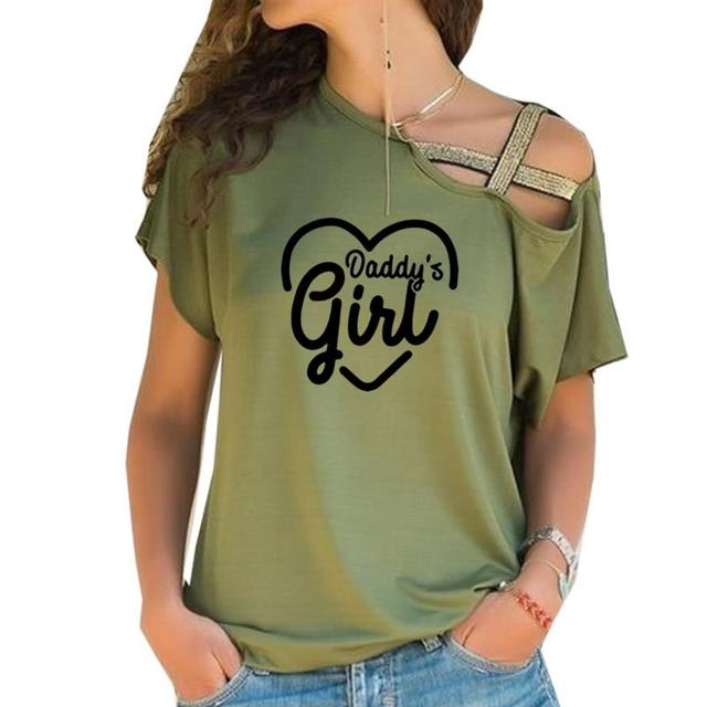 2019 Dropshipping New Fashion Daddys Girl Print T-Shirt Female Plus Size Women Top Femme Off Shoulder Cotton Summer Cute Top 2