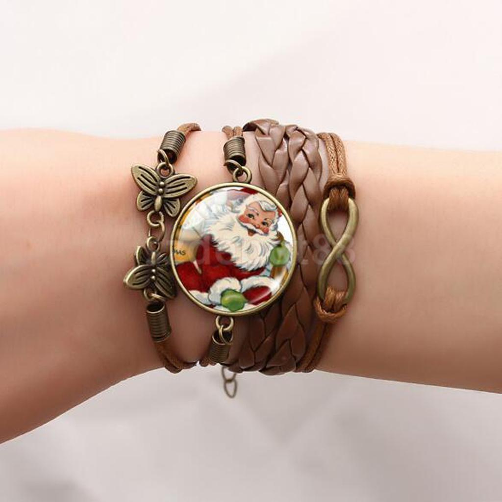 Christmas Vintage Style Santa Claus Braid Leather Butterfly Bracelet
