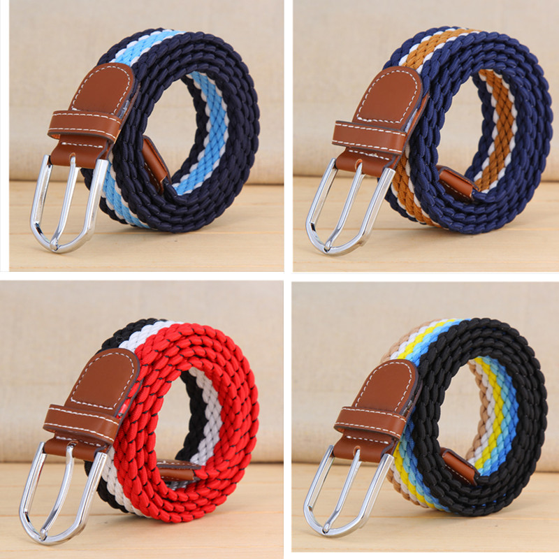 colorful belt Stretch canvas Elastic waist belt for men women braided leather Tactical straps with metal buckle Wide jeans belt