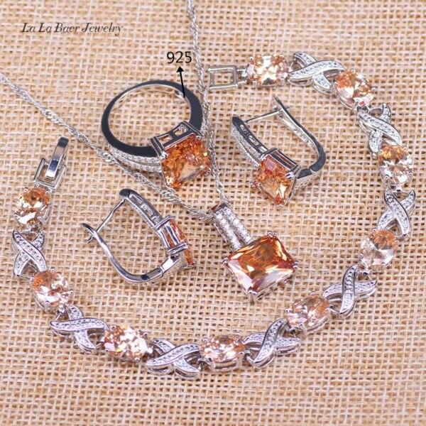 Earrings Wedding-Jewelry-Sets Bracelet Pendant Necklace Silver-Color Women Yellow Orange