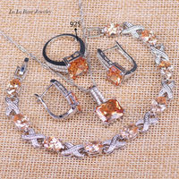 L B Unforgetable Wedding Jewelry Sets Yellow Orange Square Silver Color Bracelet Pendant Necklace Earrings Rings