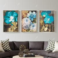 New 5d Diamond Painting Full Drill European Style Flowers Triple Painting Living Room Diamond Embroidery