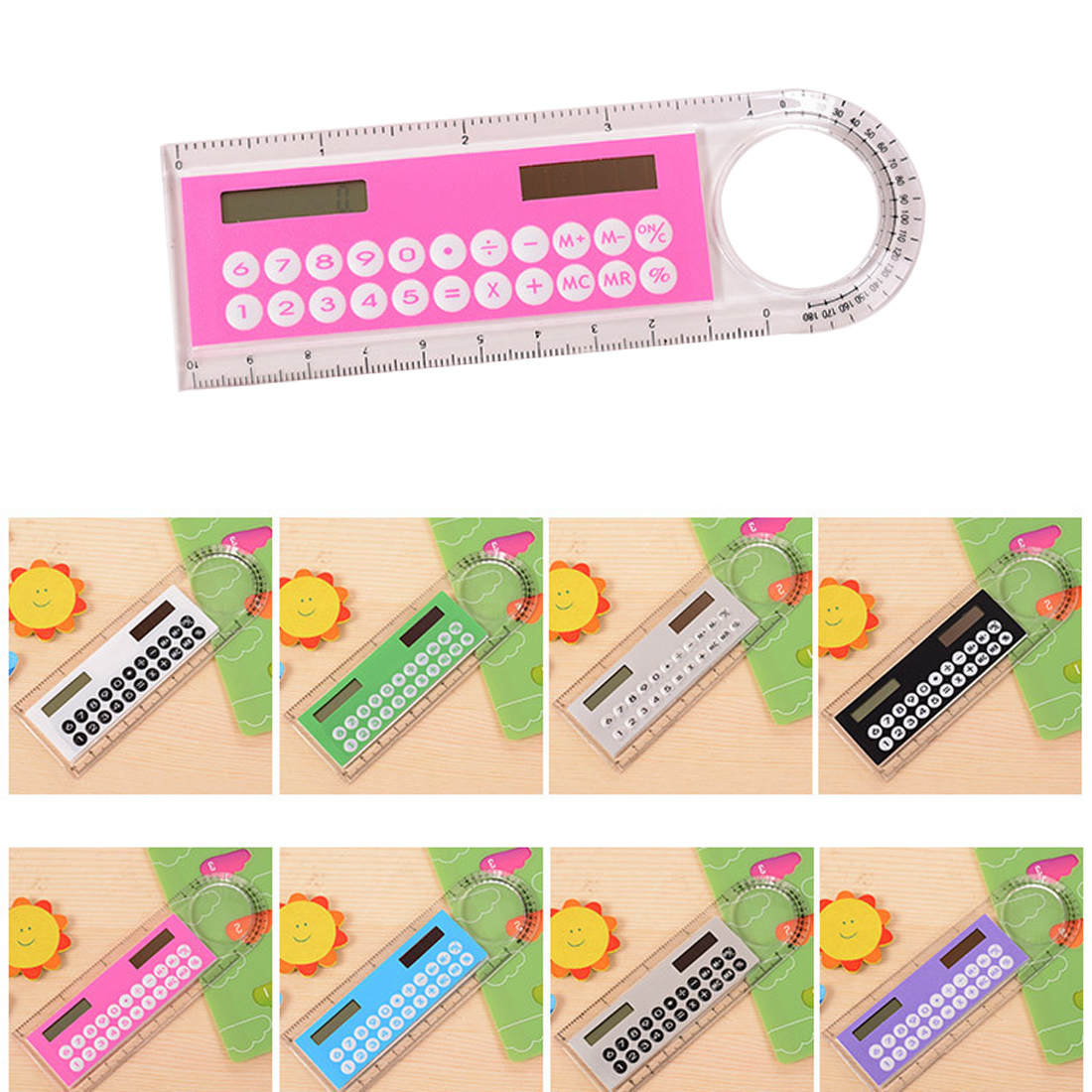 Color Random  Hot Selling Solar Mini Calculator Magnifier Multifunction 10cm Ultra-thin Ruler Calculadora Office Supplies