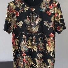 Весна 19ss новые модные футболки с цветочным принтом рыцарская Корона футболка для мужчин хлопок известный бренд одежда Топ Ретро