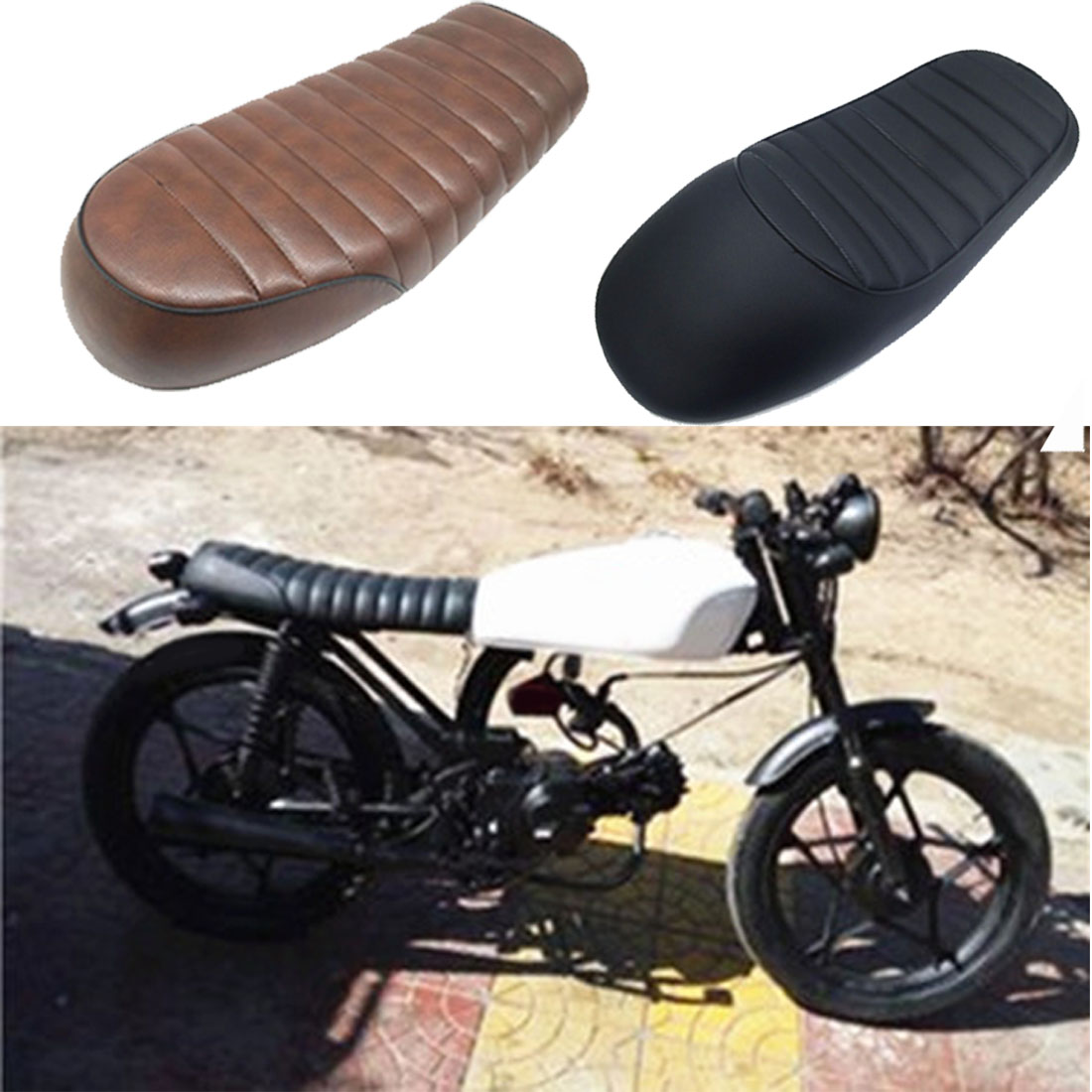 Dongzhen Motorcycle Seat Cover Cushion Fit For CG125 Outle Racer Retro Modified Universal Motorcycle Hump Vintage Custom