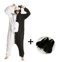 Animal Kigurumi Pajamas For Adults Fleece Cartoon Onesies With Slippers Women One piece Pyjamas Men Cosplay Costume Sleepwear