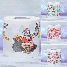 1 рулон Санта рождественские товары печатная туалетная бумага домашняя ванная комната туалетный рулон бумажных салфеток рождественские подарки Декор# N