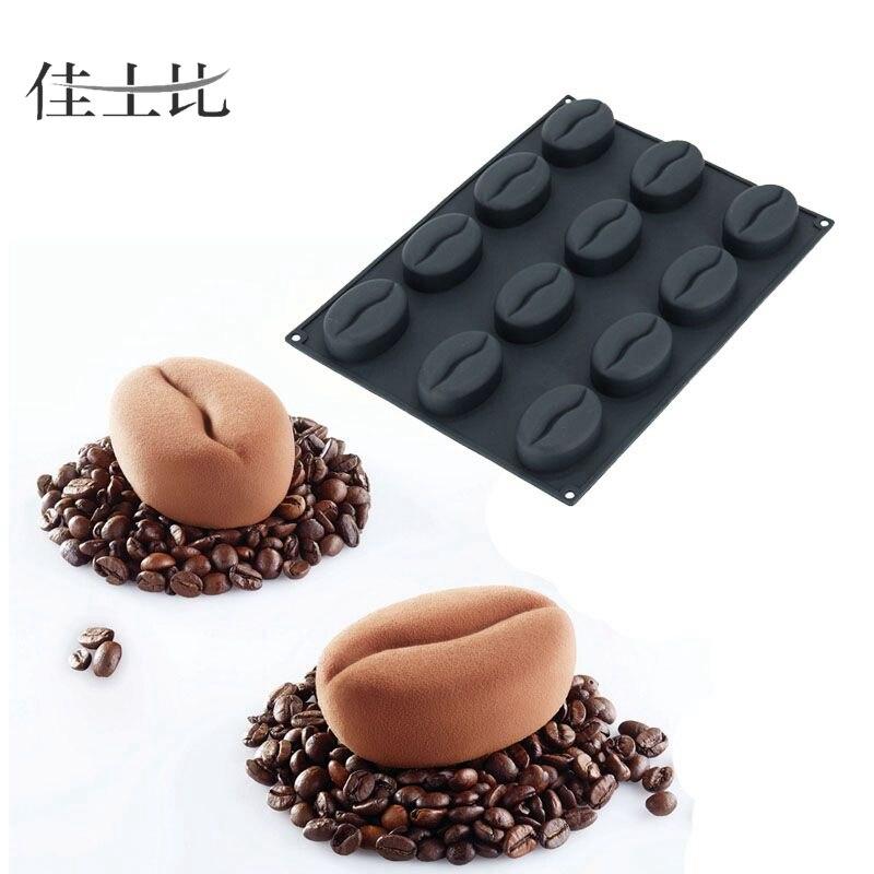 12 חלל קפה שעועית טופס סיליקון 3D Mousse - מטבח, פינת אוכל ובר