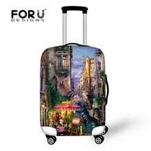 ФОТО Landscape Painting Case Travel Waterproof Luggage Cover Portable Elastic Stretch Protect Suitcase Cover to 18-30 Case Covers