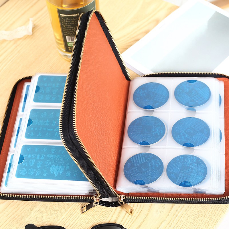 96 Slots Plus Size Nail Art Stamping Plate Bag Large Volume Stamp Polish Templates Holder Rectangle Round Double Zipper Case New new 220v photosensitive portrait flash stamp machine kit self inking stamping making seal holder film pad no ink