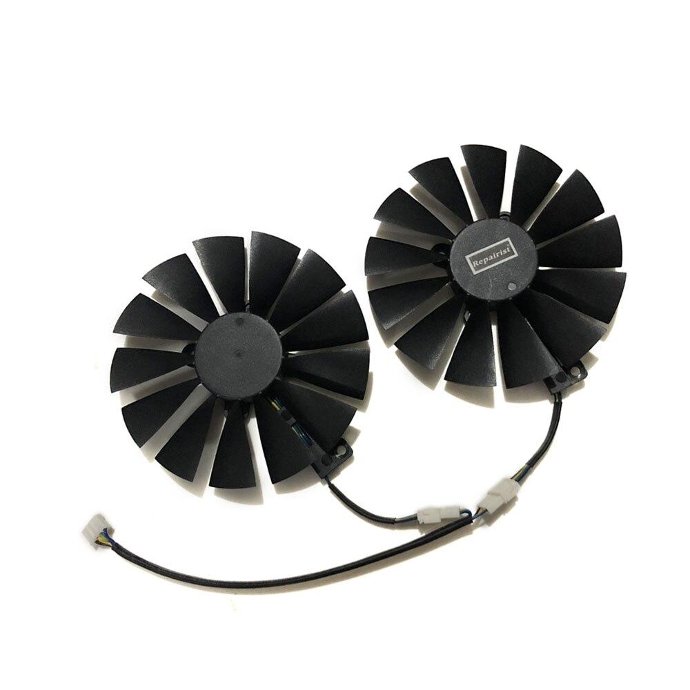 Купить с кэшбэком 2pcs/set 95mm New GPU Cooler For ASUS DUAL RX580 4G ROG STRIX RX570 GTX 1050TI GTX1080TI Gaming Graphics Card Cooling