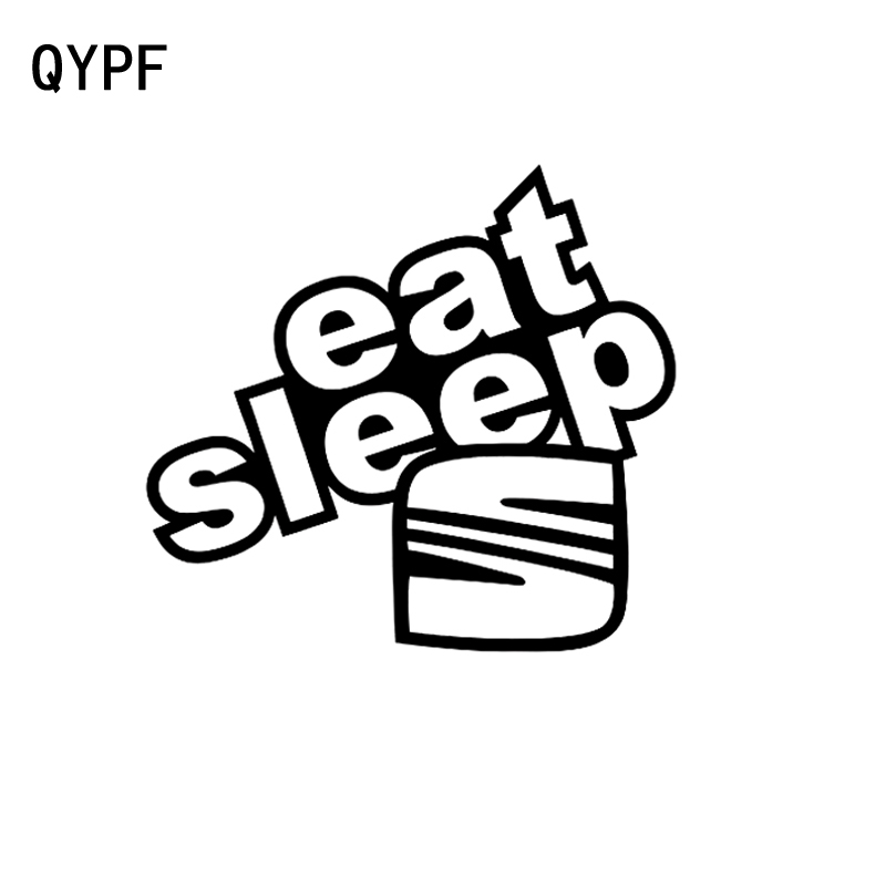 QYPF 16.8cm*15.4cm Funny Eat Sleep Seat Vinyl Car-styling Car Sticker Decal Black Silver Graphical C15-1655