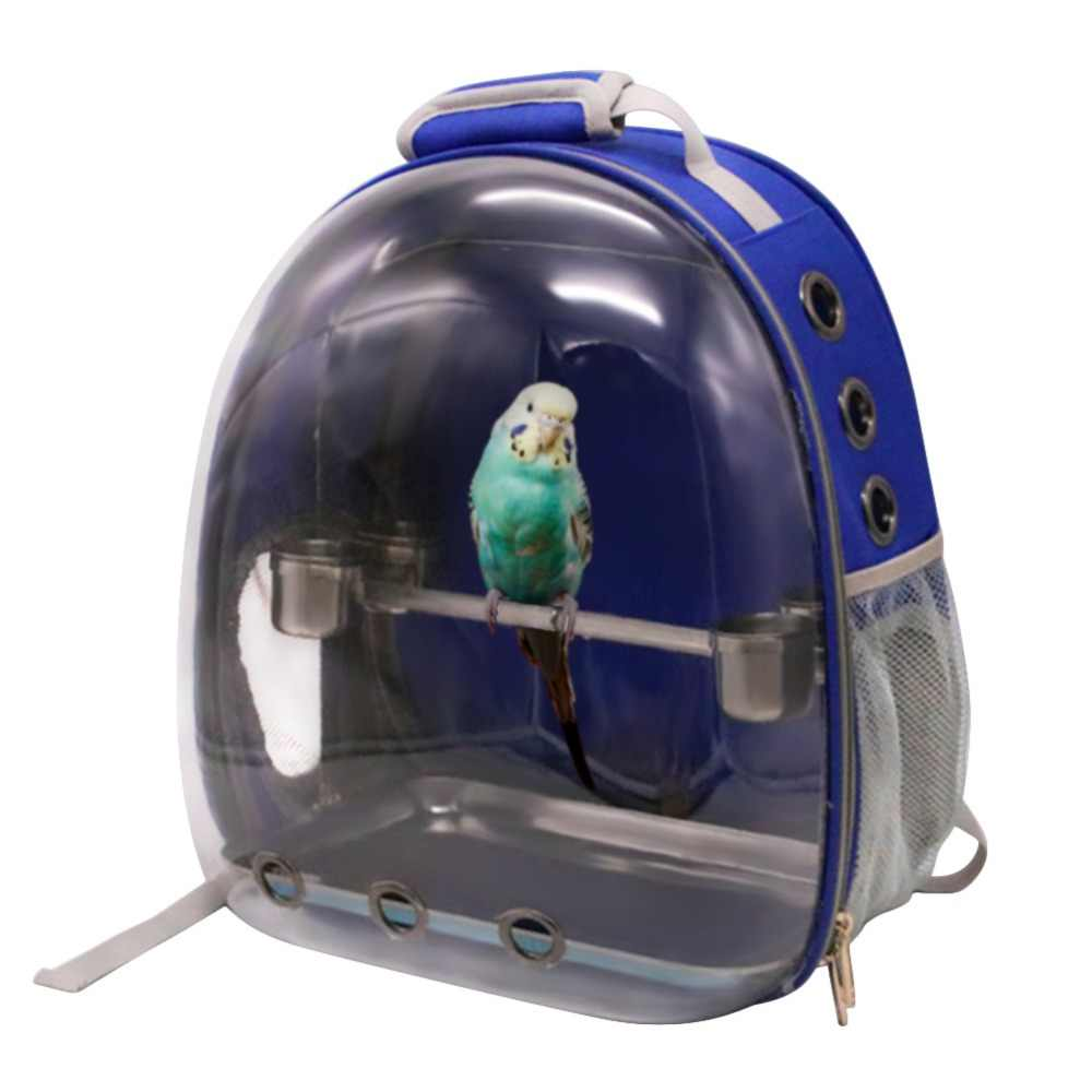 Breathable Small Bird Pet Carrier Bag with Wood Perch Portable Pet Outdoor Travel Backpack Pet Bird Parrot Carrying Cage