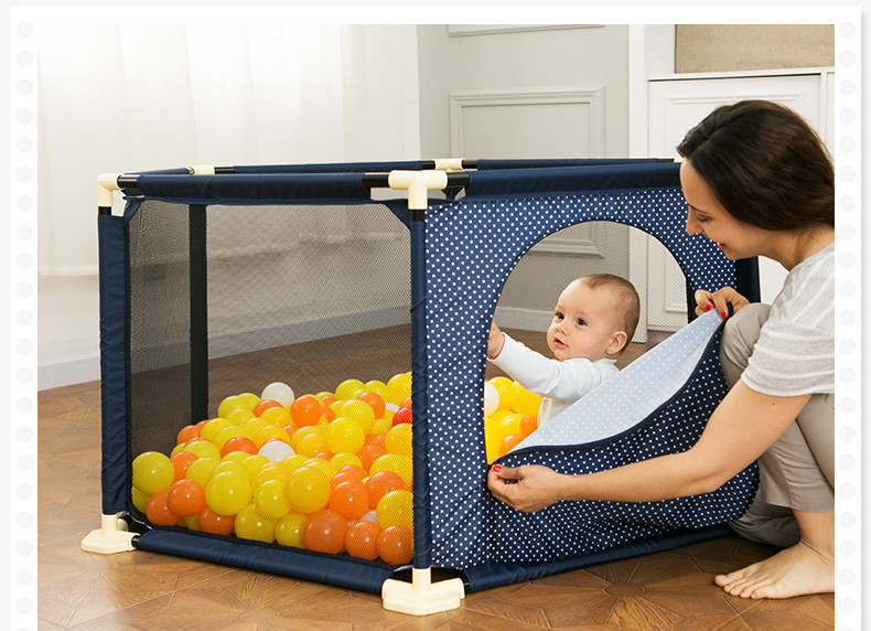 Image 2 - Baby Playpen Portable Plastic Fencing For Children Folding Safety Fence Barriers For Ball Pool For Child Travel Basketball hoop-in Baby Playpens from Mother & Kids