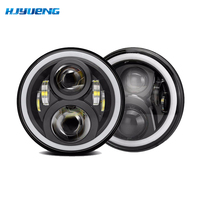 Pair 7Inch 60W Round With LED Chips LED Headlight Kit Hi Lo Angle Eyes DRL For