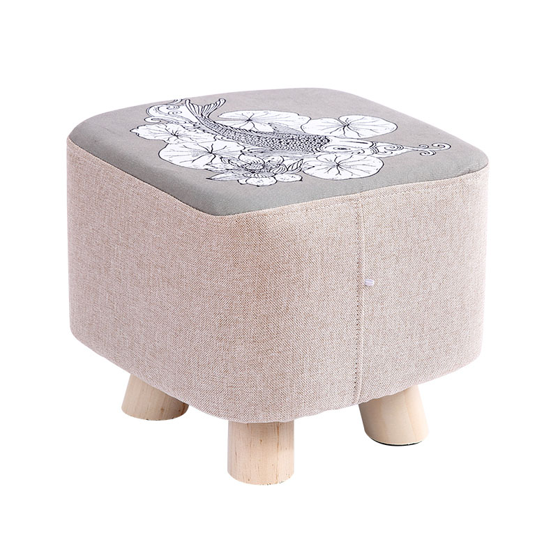Countryside Round Wood Stools Washable Taboret Bedroom Makeup Chair Home Furniture Footstool Dining Beach Pouf Ottoman