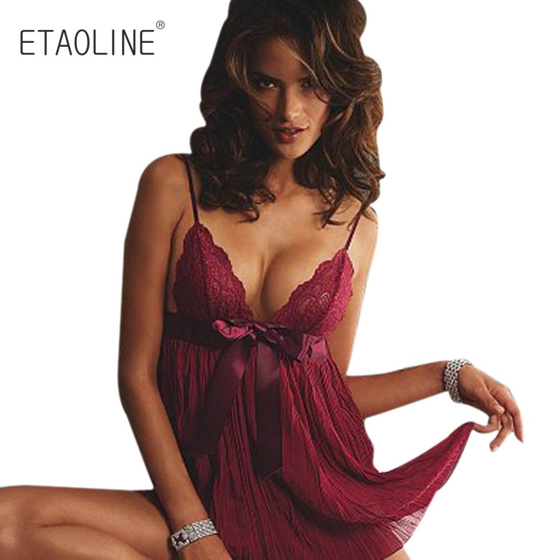 f18b5044cdc ETAOLINE 2018 New Women Girl Sexy Lingerie Nightwear Underwear Nightgrown  Sleepwear Lace BabyDoll Dress Women s Sleepshirts -in Nightgowns    Sleepshirts ...