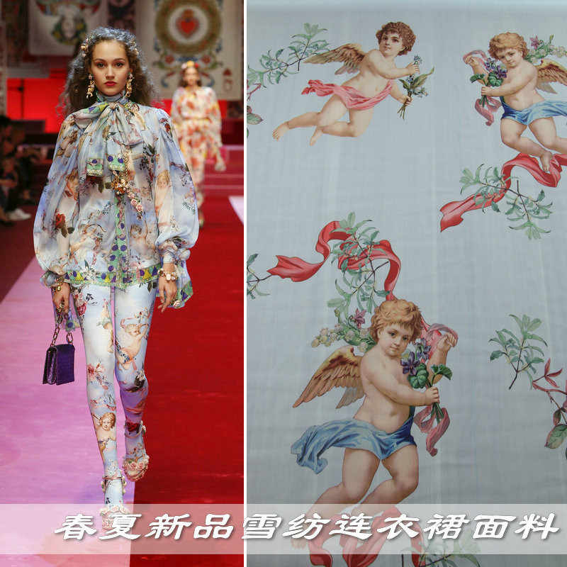 New spring and summer cute angel print chiffon clothing fabric thin drape perspective handmade DIY dress shirt fabric