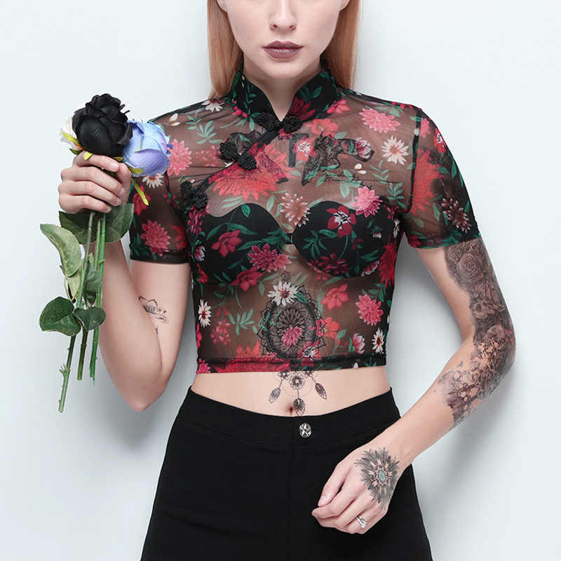 Imily Bela Sexy Mesh Crop Top Gothic Short Sleeve Floral Print Mandarin Collar Tshirt Bodycon Stand Collar Transparent T-shirt