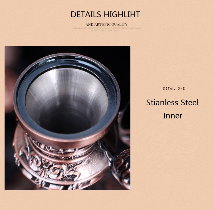 European Russian Retro Luxury Metal SHot Cup Hip Flask With Tray Holder Points Sherbet Exquisit Castle Pattern Cup Table Tecoration