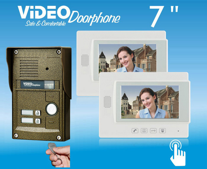 ZHUDELE 7video door phone,waterproof explosion-proof IR camera with 2-buttons,ID card an ...
