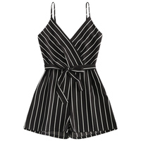 ZAFUL Cove Ups Striped Belted Surplice Romper Women Summer Beach Spaghetti Strap Cove Ups Zipper Sexy Black & White Stipe Romper