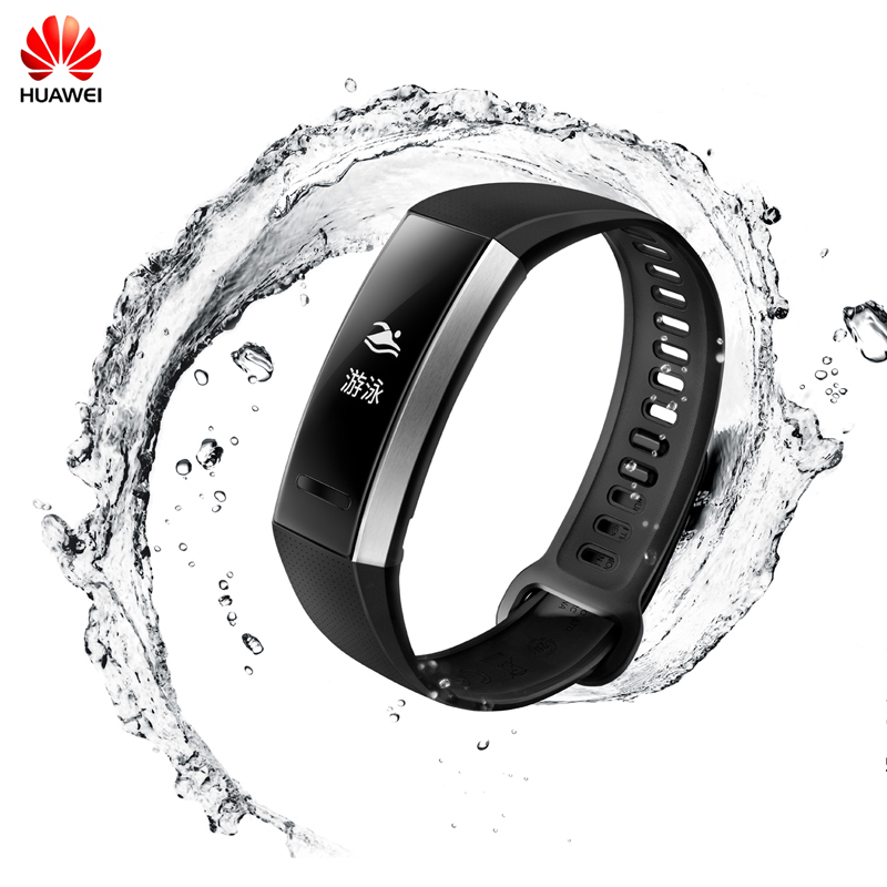 100%Original Huawei Sport Band 2 Smart Wristband Alloy Swimmable 5ATM 0.91 OLED Screen Touchpad Heart Rate Monitor Push Message