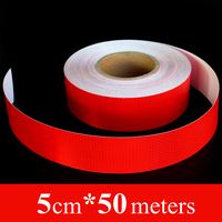 Wholesale 5cm*50m Red Safety Mark Car stickers PVC Self Adhesive Warning Tape High Visibility Motorcycles Reflective Strips