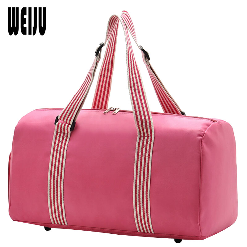 WEIJU 2017 New Women Travel Bag Waterproof Nylon Ladies Travel Bags Casual Luggage Duffle Bag+Independent Shoe Bit YA0209