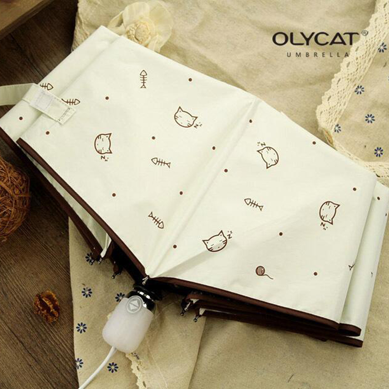 OLYCAT Automatic Umbrella Rain Women Lovely Cat Folding Umbrellas Windproof Black Coating Anti UV Parasol Women's Umbrella Girl