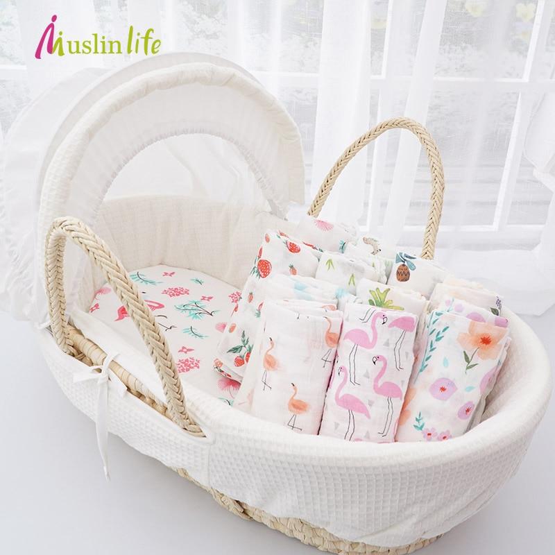 Muslinlife 2017 Newest Newborn Baby Swaddle Wrap Super Soft Crib Sleeping Blankets 120*120cm for 0-3T