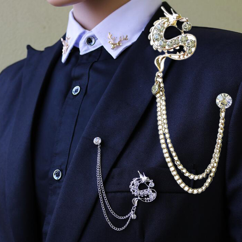 US $1 96 10% OFF|1 Piece Gold Fashion Suit Suits Brooch Pins Brooches Men  Crystal Dragon Tassels Chains Corsage Lapel Pin Brooches-in Brooches from
